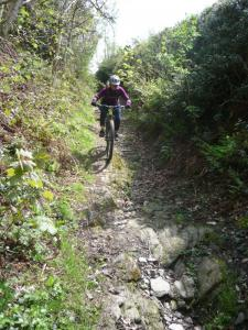 Becky on the rocky Plas-onn descent into the Ceiriog Valley.
