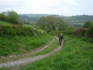 Becky descending to Bronygarth near Chirk Castle.