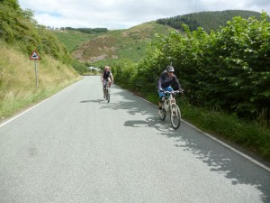 Pete and Mark on the road along the Ceiriog Valley.
