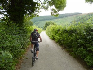Mark riding through Pengwern Vale out of Llangollen.