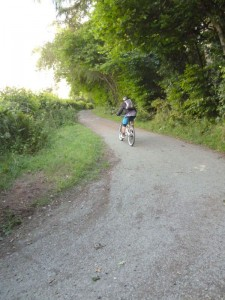 Pete climbing out of the Ceiriog Valley to Caemor Wood.