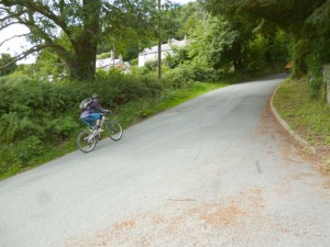 Pete leaving Glyn Ceiriog by the very steep Church Hill lane.