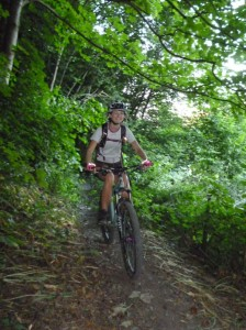 Frances on the Rectory singletrack in the Ceiriog Valley.