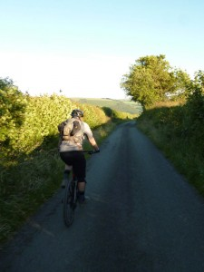 Mike riding Llety Ifan lane to the Ceiriog Valley.