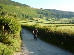 Mike on the lane through the Vale of Llangollen.