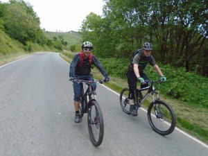 Nick and Dave riding to Tregeiriog in the Ceiriog Valley.