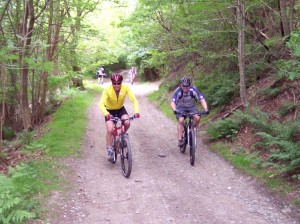 Colin and Andy halfway up the Coed Pen-craig climb.