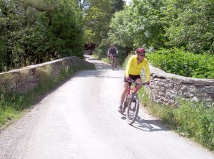 Colin and Paul crossing Tregeiriog bridge.