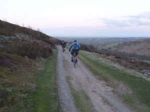 Mike and Alistair on the County Road descent.