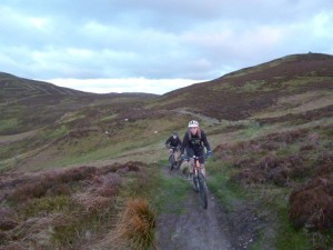 Mike and Alistair riding the concessional ridge track on the Clwydian Range.