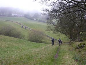 The steep grassy climb to Fron-heulog farm.