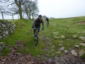 Nigel and Mike on the muddy Moel Eithinen trail.