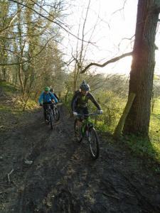 Brian and Dave in the woods on the bridleway to Hendre.