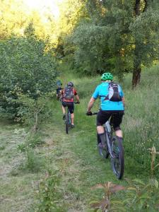 Dave and Rob starting the bridleway climb around the back of Pant-du.