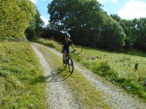 Wendy on the bridleway to Eryrys.