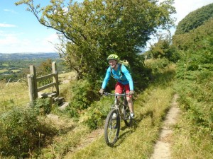 Kylie following the Fron Haul bridleway on Hope Mountain.