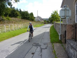 Anne entering Llandegla village.