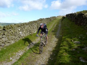 Chris flying down the Fron Hen descent.