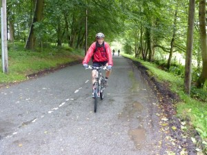 Chris on the lanes to Nercwys Forest.