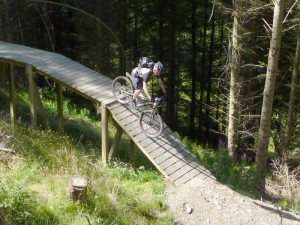 Mike on the planks of the Llandegla Black Route.