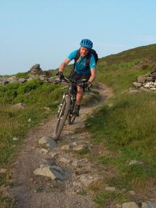 Gareth enjoying the singletrack around Moel Famau in the Clwydian Range.