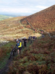 The short, steep, and muddy if wet, climb to Offas Dyke on the ridge of the Clwyds.