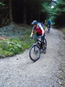 Jeanette on the Circular Trail descent in Nercwys Forest.
