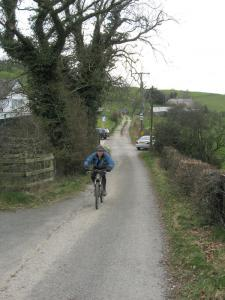 Jim approaching the top of the Clwyd Gate climb.