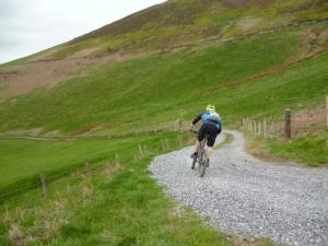 Matty on the Pygories descent  into the Vale of Clwyd.