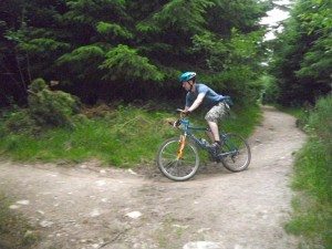 Mark heading to the view point in Nercwys forest.