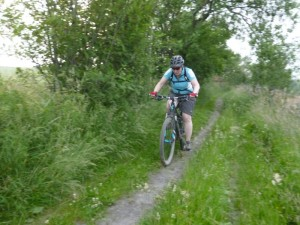 Wendy on the singletrack from Nercwys forest.