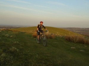 Graham climbing Vomit Hill up Moel Famau.