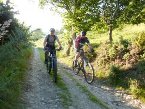 Becky and Gaz on the Bryn Golau double track.