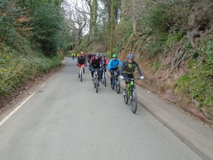Brian, Dave, Justin, Pete and Jonathan on the lane out of Ruthin.
