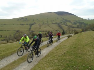 Carl, Allan, Andy, Justin and  Michael on the Moel Eithinen double track climb.