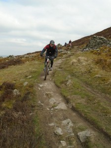 Justin on the Moel Famau singletrack.