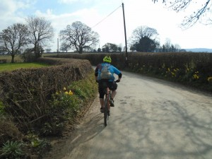 Matty on the lane back to Ruthin.