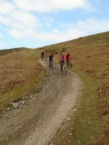 Pete, Gaz, Michael and Justin on the Moel Dywyll descent.