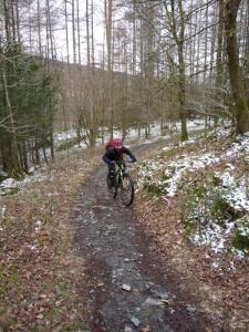 Graham on the steep Low Scar Wood climb in Grizedale Forest.