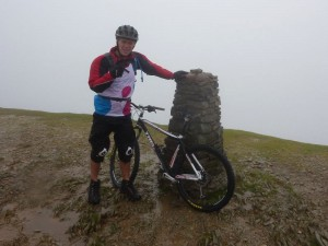 Lee at the summit of Helvellyn (that felt like being in a power shower!)