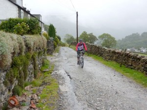 Lee climbing out of Glenridding.