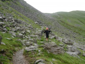 Mark completing the walk down from Grisedale Hause.
