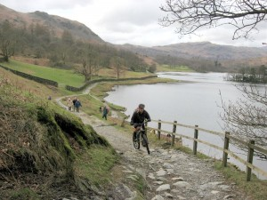 Paul climbing from Rydal Water.