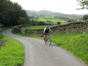 Darren near top of the steep Nibthwaite Grange climb.