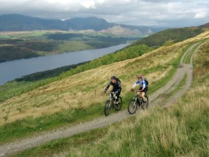 Steve and Sabine on the Great Hill double track above Coniston Water.