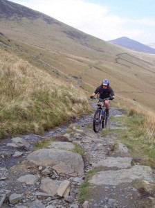 Paul on a tricky climb of the Cumbria Way, Lonscale Fell.