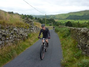 Mike climbing from Kentmere.