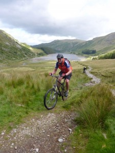 Stu climbing from Haweswater.