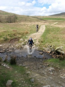 Andy crossing the ford at the top of the Croft Head descent.