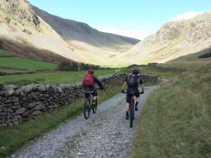 Graham and Jonathan riding through Long Sladdale.